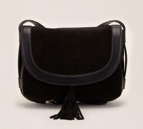 70/30 Alessia Sac bandoulière noir en cuir lisse et cuir velours ...