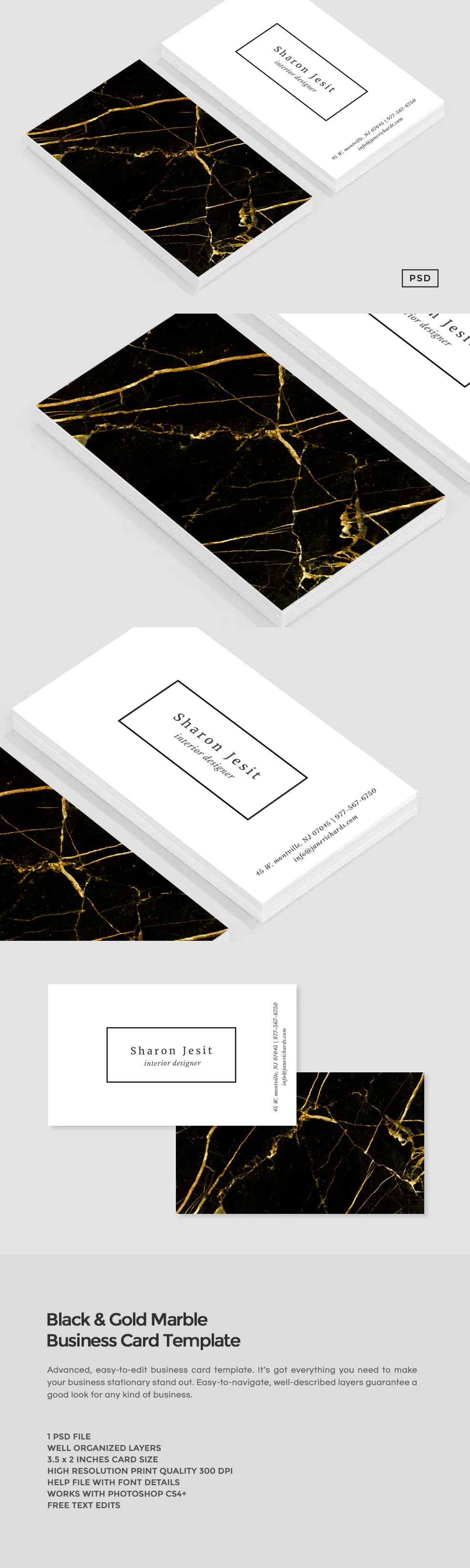 Black gold marble business card template psd art 3 pinterest black gold marble business card template psd reheart Images