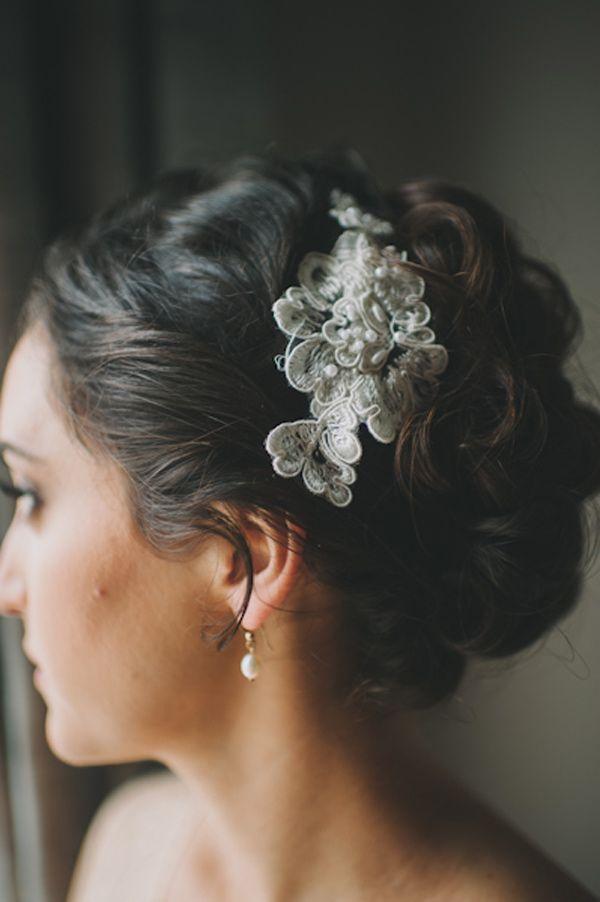 lace hair accessory made of vintage brooches // photo by Heidi Ryder // http://ruffledblog.com/santa-monica-garden-wedding