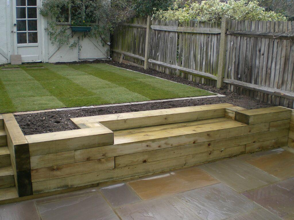 Sleep Edging With Bench Sleepers In Garden Garden Seating Garden Design Modern garden ideas with sleepers