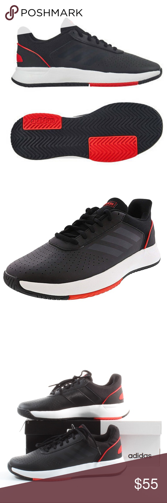 Men S Adidas Courtsmash Tennis Shoes Black New Men S Adidas Courtsmash Tennis Shoes Brand New In The Box 100 Black Shoes Shoe Brands Designer Shoes