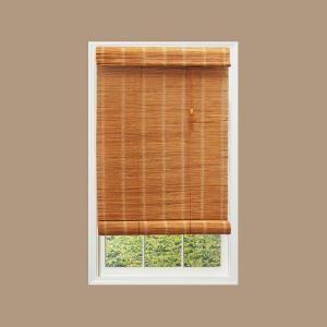 Hampton Bay Nutmeg Simple Weave Bamboo Roll Up Shade 60 In W X