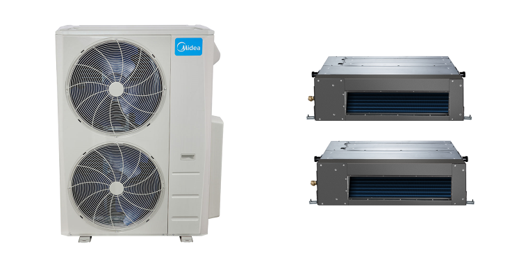 Slim Ducted In Minisplitwarehouse Com Looking For A Midea 20 5 Seer 2 24000btu 2 Zone Slim Ducted Mini Spli Heat Pump System Ductless Air Conditioner Heat Pump