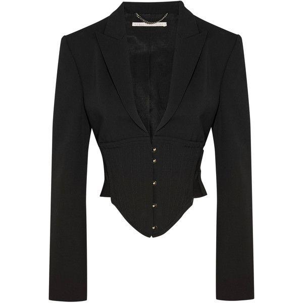 Stella McCartney Stella McCartney - Cropped Cutout Wool Jacket - Black (€1.375) ❤ liked on Polyvore featuring outerwear, jackets, wool jacket, cropped jacket, stella mccartney jacket, shoulder pad jacket and cropped wool jacket