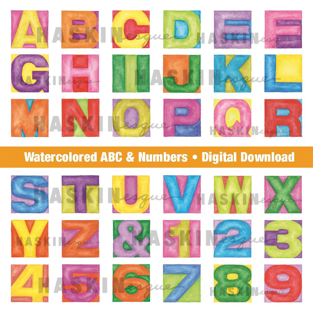 Alphabet Abcs Digital Download Watercolor Letters For