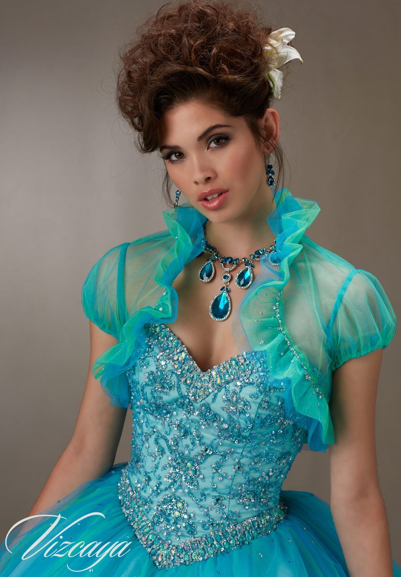 271dcb32fa1 Quinceanera Dress Vizcaya Morilee 89073 Layered tulle ball gown with  embroidery and jeweled beading Colors  Pink Champagne and Island Blue A  closer view