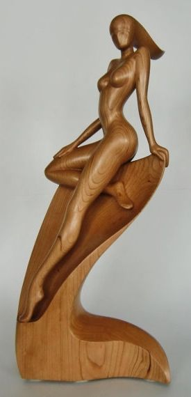 woman carving sculpture wood Nude