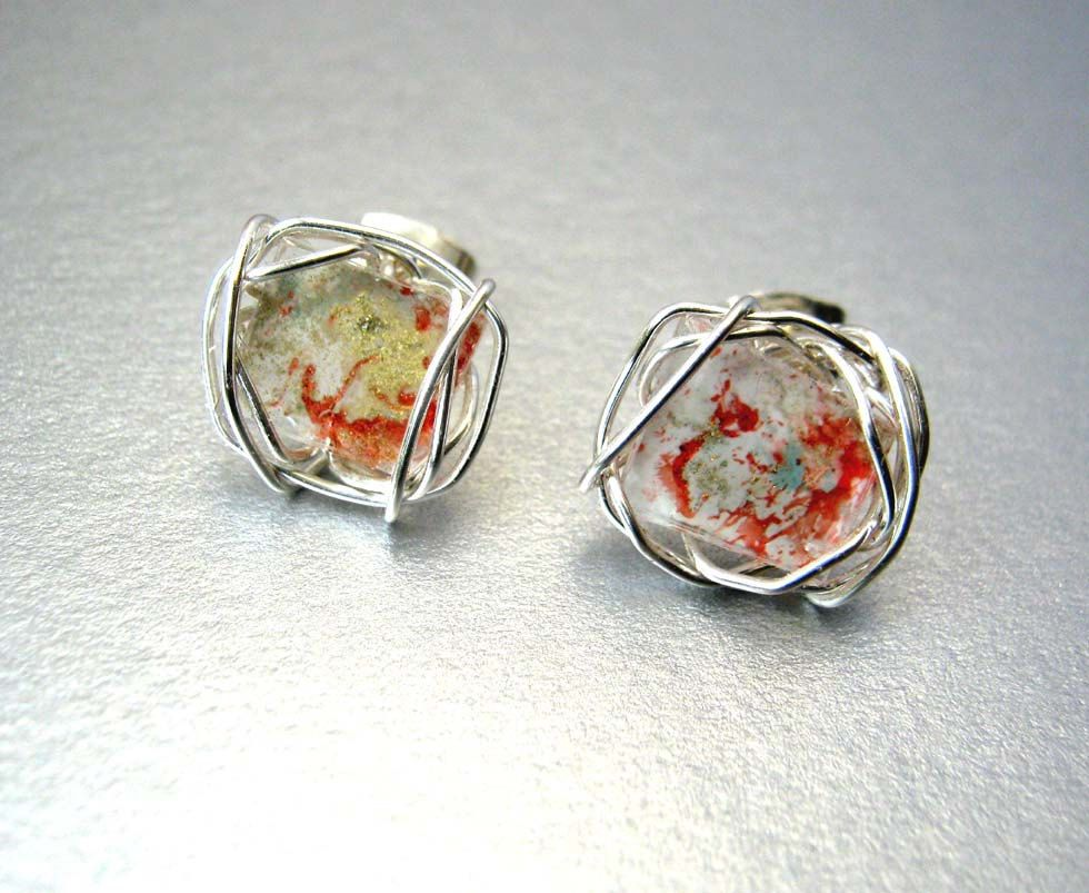 Art Mosaic Stud Earrings Red White Gold Wire Wrapped Post Earrings ...