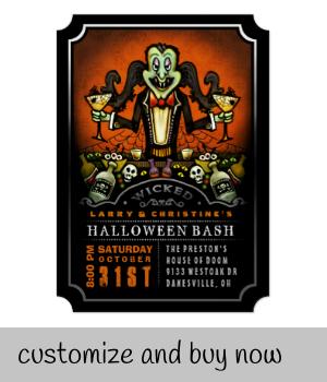 Dracula Halloween Bash Party Fun Invitation |  Dracula Halloween Bash Party Fun Invitation