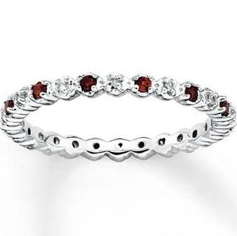Jared Stackable Garnet Ring 120 ct tw Diamonds Sterling Silver
