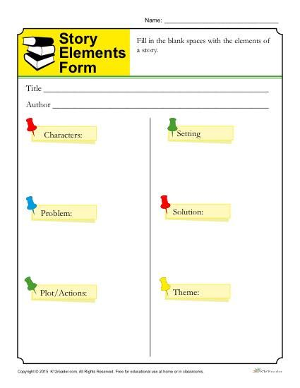 Story Elements Form Template For Students Story Elements Worksheet Story Elements Super Teacher Worksheets Plot and theme worksheets