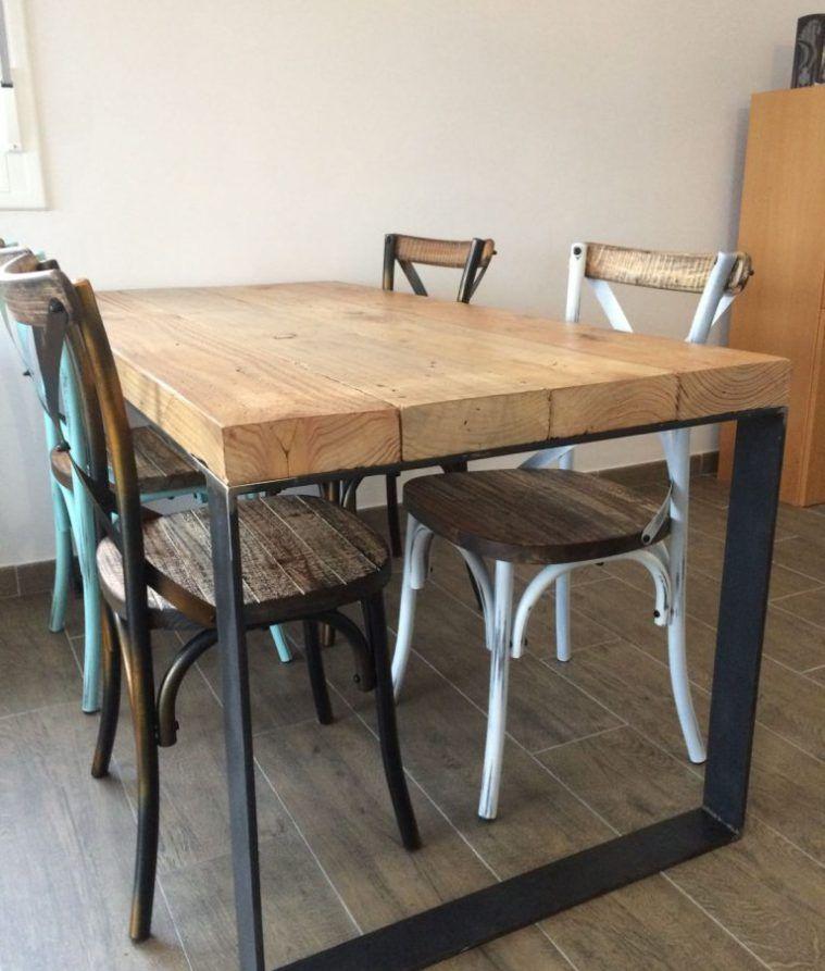 Mesa estilo industrial patas pasamanos en 2019 cocinas for Muebles de estilo industrial barato
