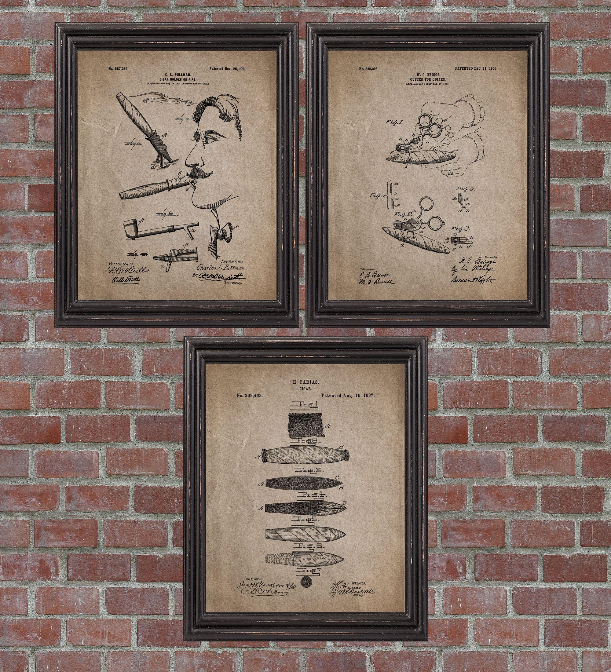 Cigar Patent Print Set Of 3 Cigar Wall Art Cigar Cutter Etsy In 2020 Patent Prints Patent Art Prints Print Sets