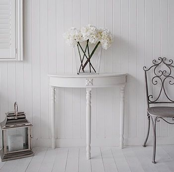 White Hallway Console Table half moon console table - white hall table | console table