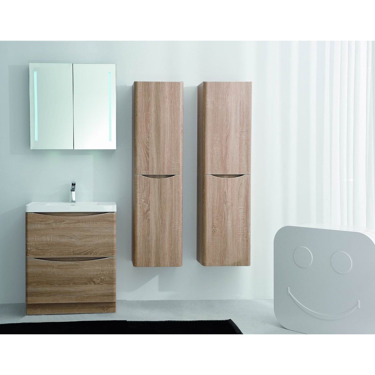 Eviva Smile 30 inch Oak Modern Bathroom Vanity Set with Integrated Acrylic  Sink Free Standing. Eviva Smile 30 inch White Oak Modern Bathroom Vanity Set with