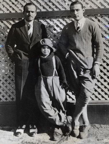 From left: Douglas Fairbanks, child star Jackie Coogan, Rudolph Valentino, 1922-23