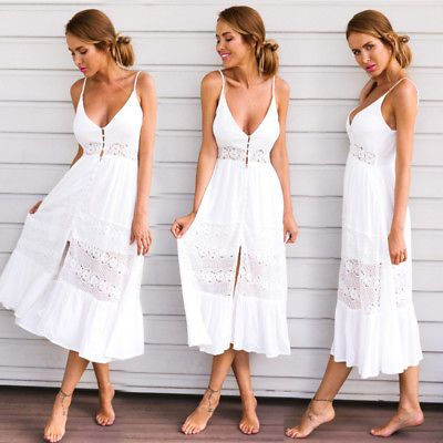 33d1a0d70726 Women Summer Boho Long Maxi Dress Evening Cocktail Party Beach Dresses  Sundress