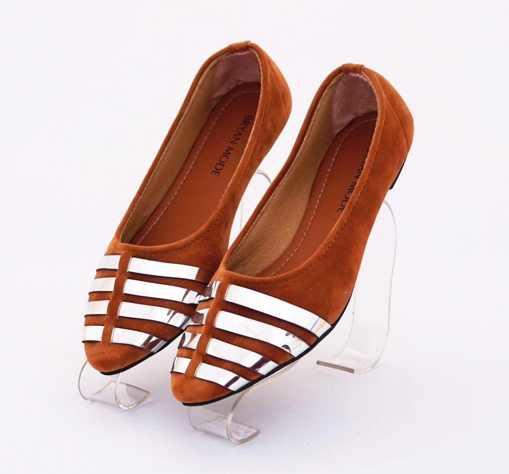 Sepatu Flat Elegan Cantik Warna Coklat Bahan Beludru Sepatu