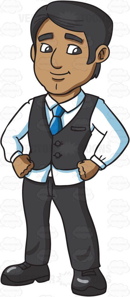A Confident Indian Businessman Vector Graphics Vectortoons Com Human Drawing Cartoon Clip Art Business Man