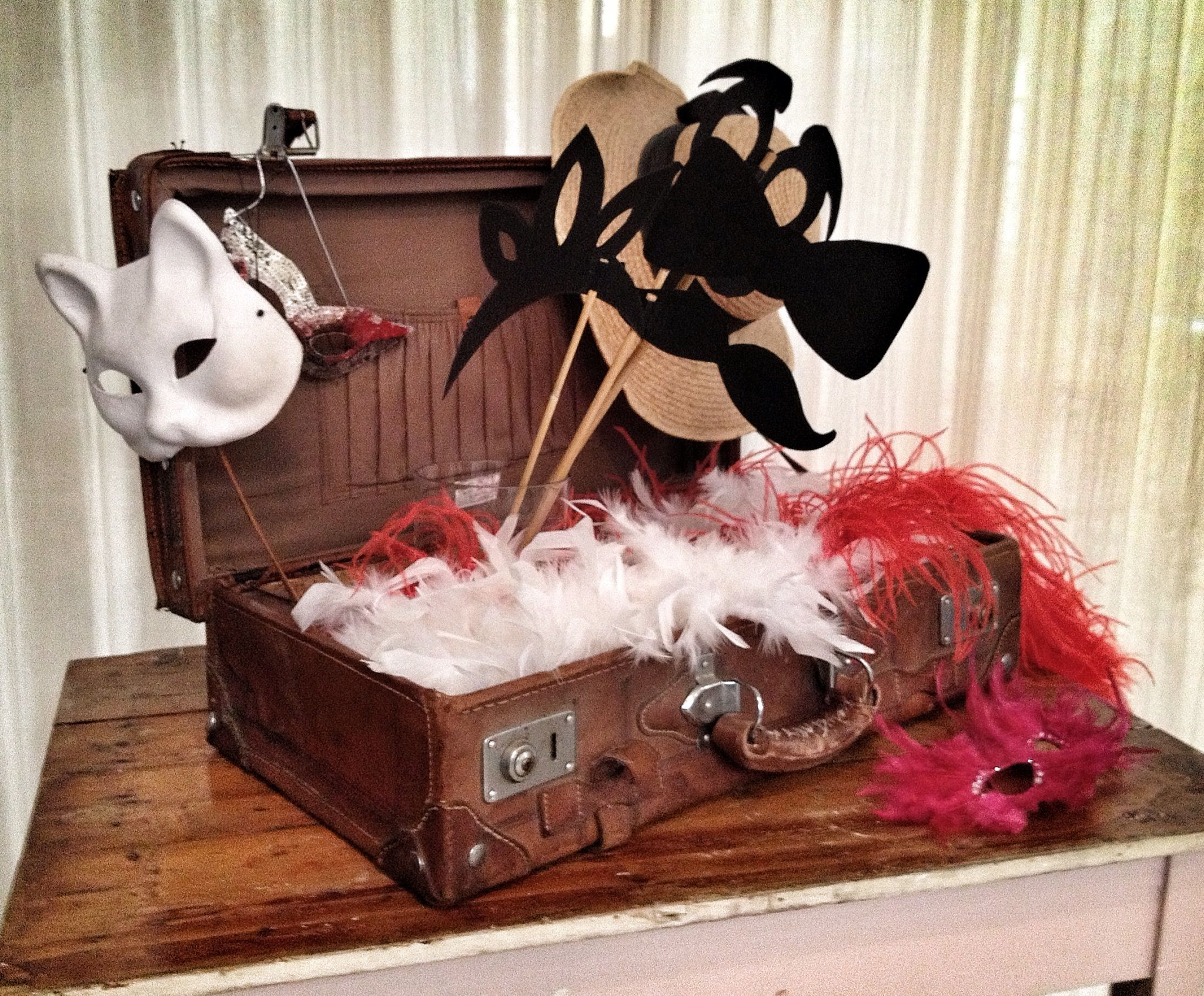 Old suitcase with mixed props