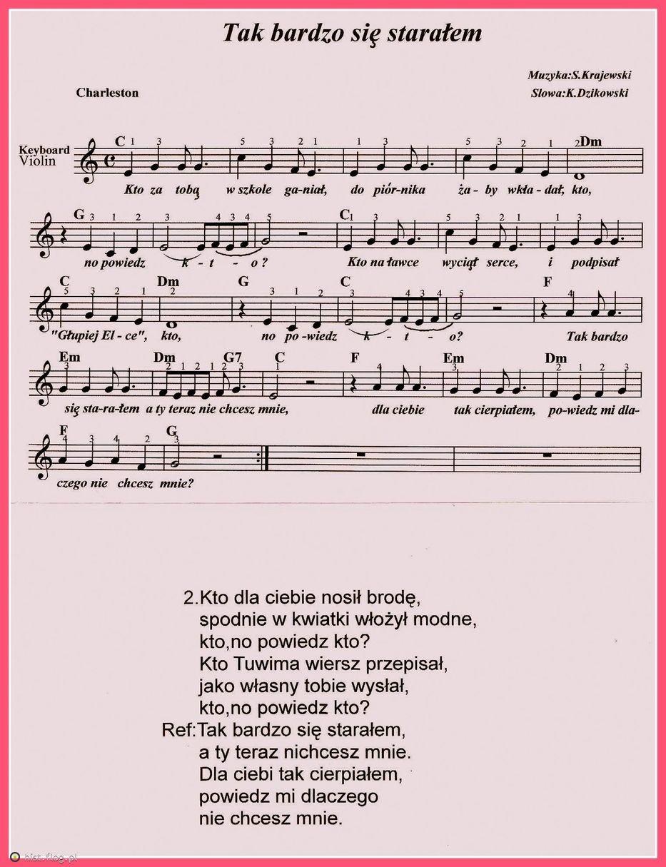 Tak Bardzo Sie Staralem Fotoblog Musica Partituras Violines Partituras
