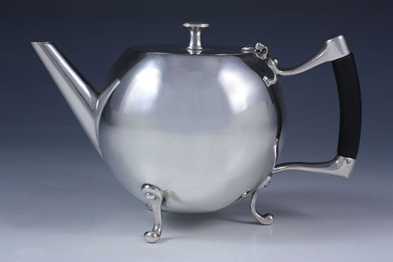 Christopher Dresser Teapot Silver Plate James Dixon And Son On Br With Ebony Handle England 1880