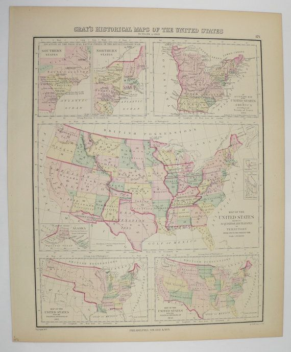 Man In The United States Map.United States Map 1876 O W Gray Map Historical Map Vintage Map Of