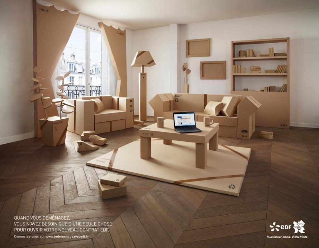 edf inspir par ikea fait sa pub avec des meubles en carton costumes en carton ou papier. Black Bedroom Furniture Sets. Home Design Ideas