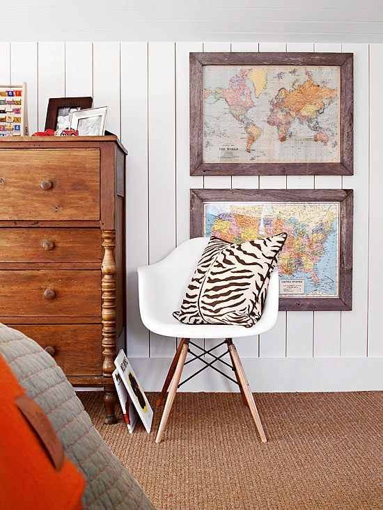 Fresh decorating ideas to reset your space framed maps modern barn board framed maps vertical board walls modern chair and zebra print the gumiabroncs Choice Image