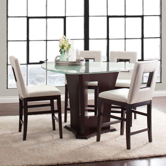 Triangle Dining Table Set | 5 Piece Glass Dining Set Home Decor+Rustic+ Dining