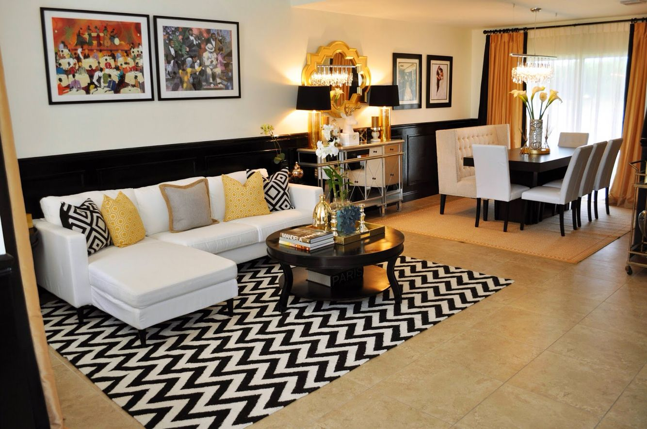 Black White Apartment With Gold Accents Black Living Room