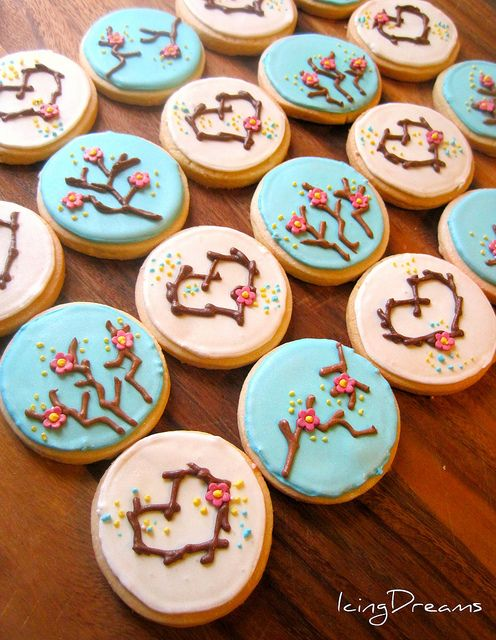Cherry Blossom Cookies    Royal iced decoration on shortbread cookies. These were made for my cousins engagment. It was a beautiful evening. simple design that anyone can achieve, no steady piping skills required ! =)
