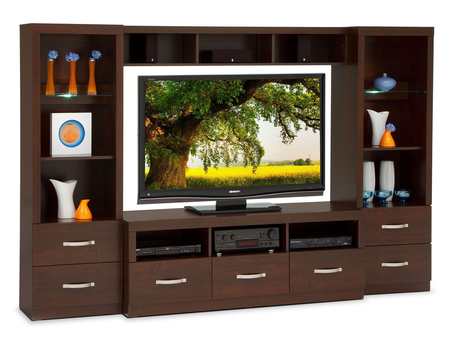 Entertainment Furniture-Selkirk 4 Pc. Entertainment Wall Unit | For ...