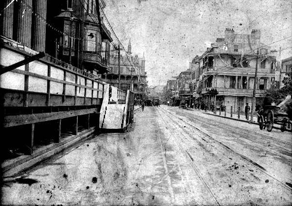 St. Charles Street, 1890s. Photograph taken from the street in front of City Hall looking down towards Canal Street. From an unidentified suit record in the Civil Courts Collection.