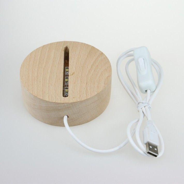 Solid Wood Led Base White Light Usb Powered For Acrylic Panel Tdl