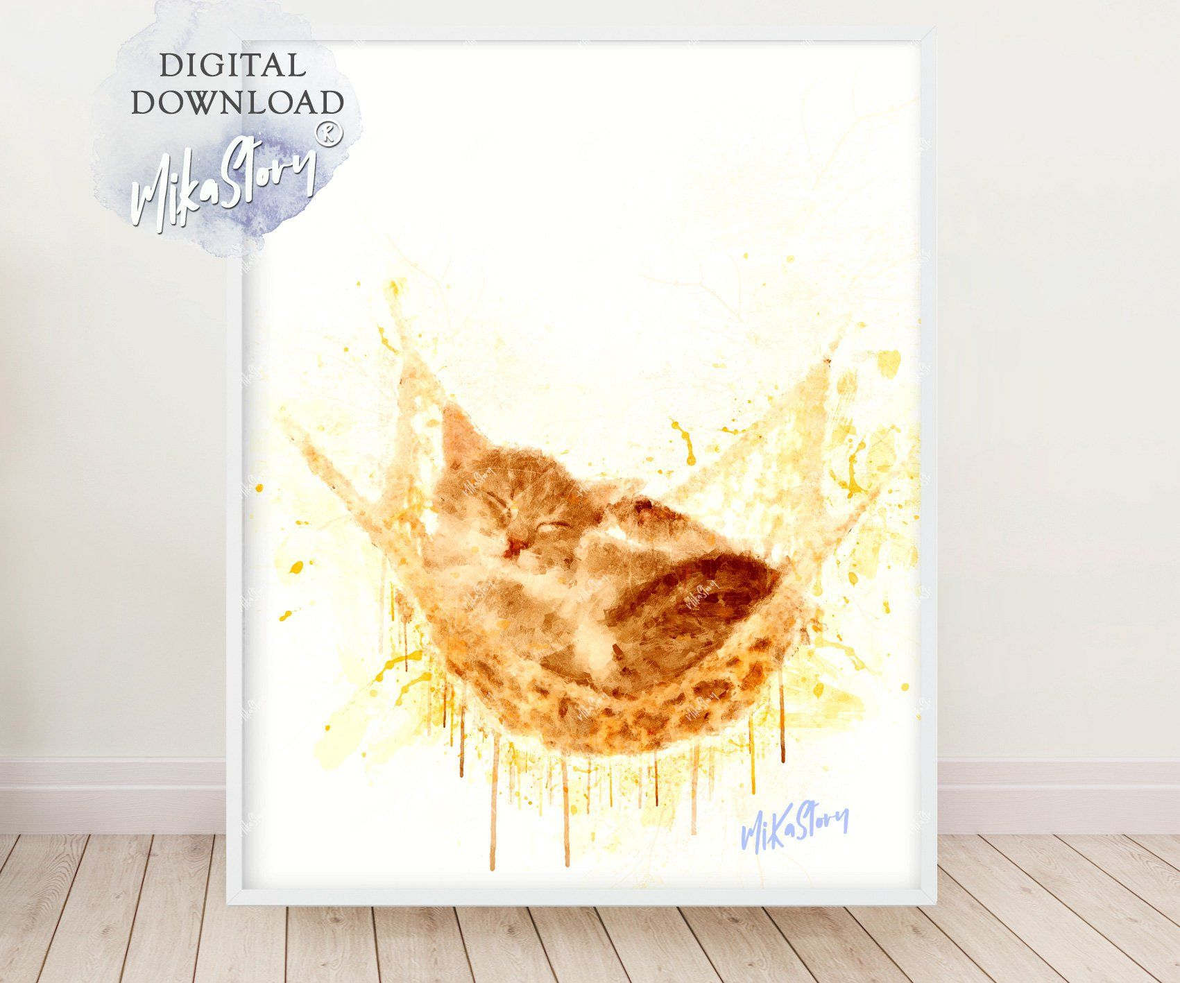 Watercolor Red-headed cat, BabyRed-headed cat print, Baby animal art ...