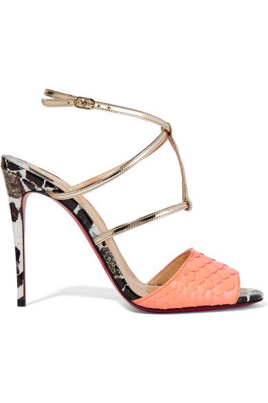 Christian Louboutin Python-Trimmed Ankle Strap Sandals new styles cheap online cheap really shopping online clearance 1cSFA48