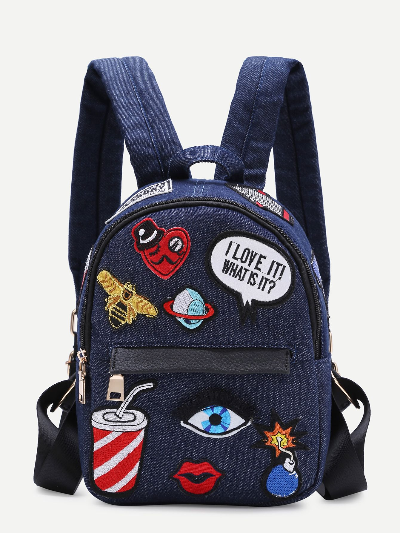 0fdf3c9a87 Dark Blue Zip Front Cartoon Patch Mini Backpack