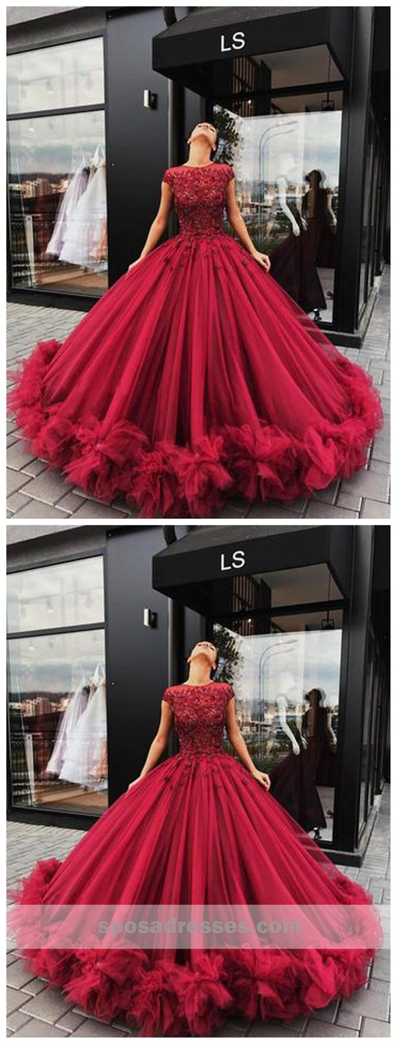 Luxurious dark red lace ball gown tulle long evening prom dresses