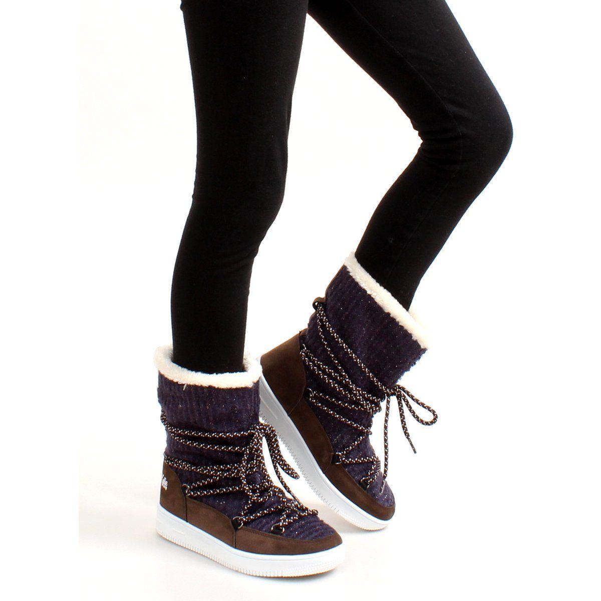 Sniegowce Dla Dzieci Butymodne Granatowe Dzieciece Sniegowce Eskimoski K1646102 Boots Sorel Winter Boot Winter Boot