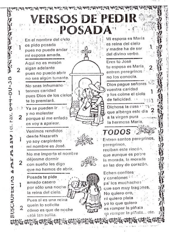 Versos De Pedir Posada Jpg 576 792 Pixels Canciones Para Posadas Tradiciones Navidenas Posadas Mexicanas