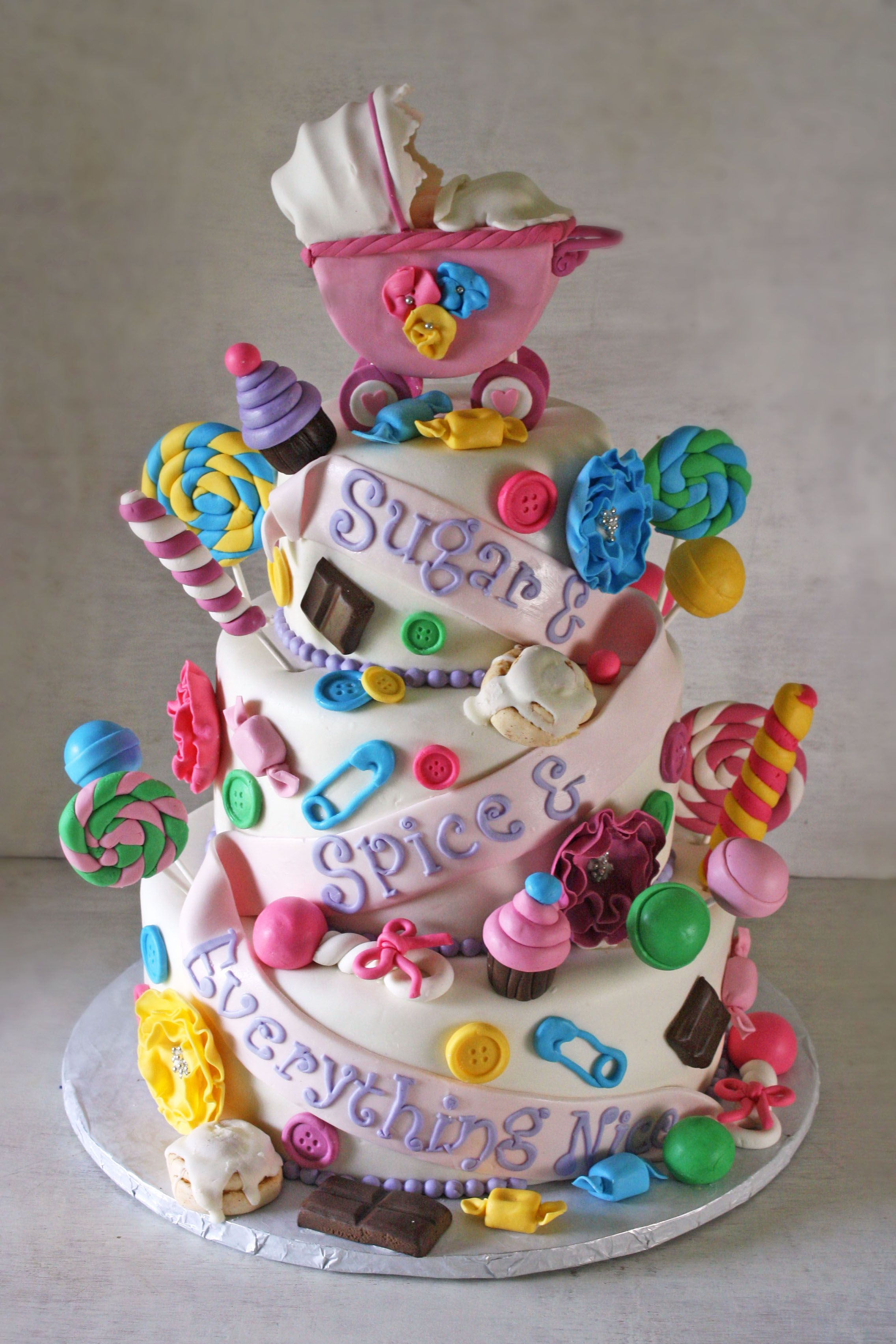 Sugar Amp Spice Amp Everything Nice Baby Shower Cake For Twin