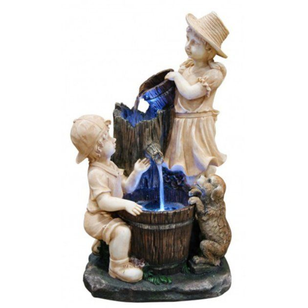 Alpine Playing Children Cascade Fountain With Led Light