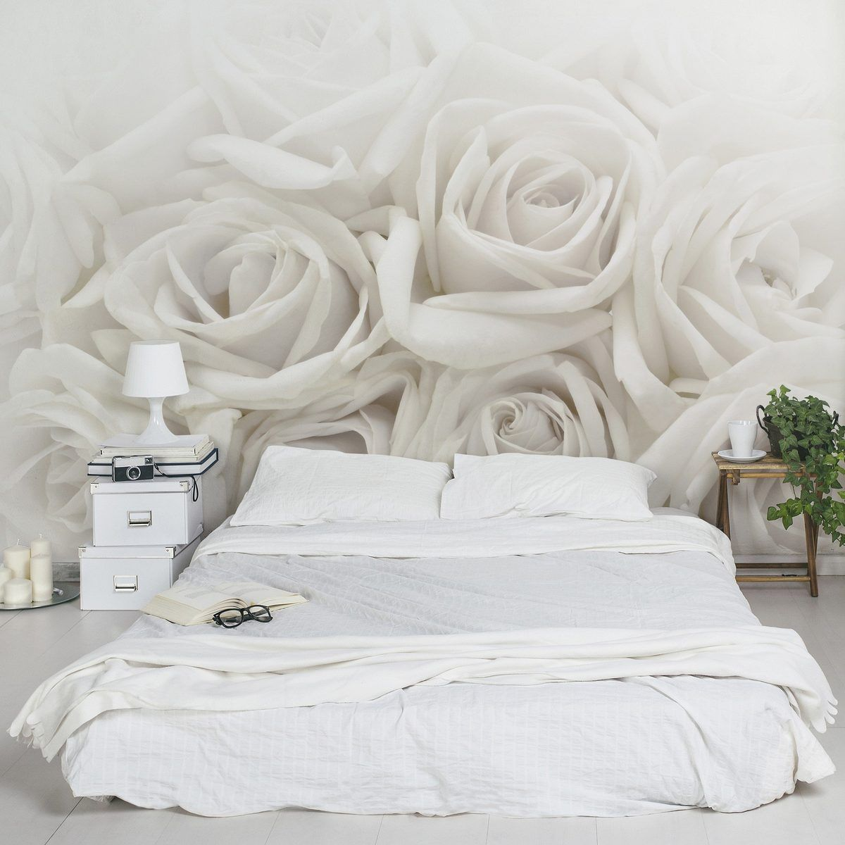 bilderwelten vliestapete blumen premium breit wei e rosen. Black Bedroom Furniture Sets. Home Design Ideas