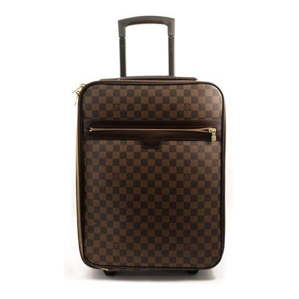 Pre-Owned Louis Vuitton Brown Damier Pegase 45 Luggage (€1.830) ❤ liked on Polyvore featuring bags, luggage and brown