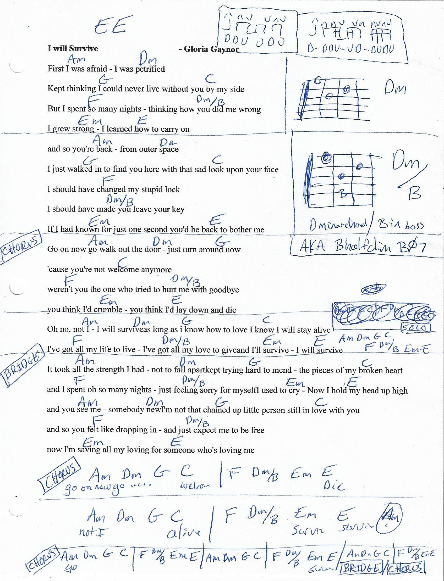 I Will Survive Gloria Gaynor Guitar Chord Chart Note Em Sounds