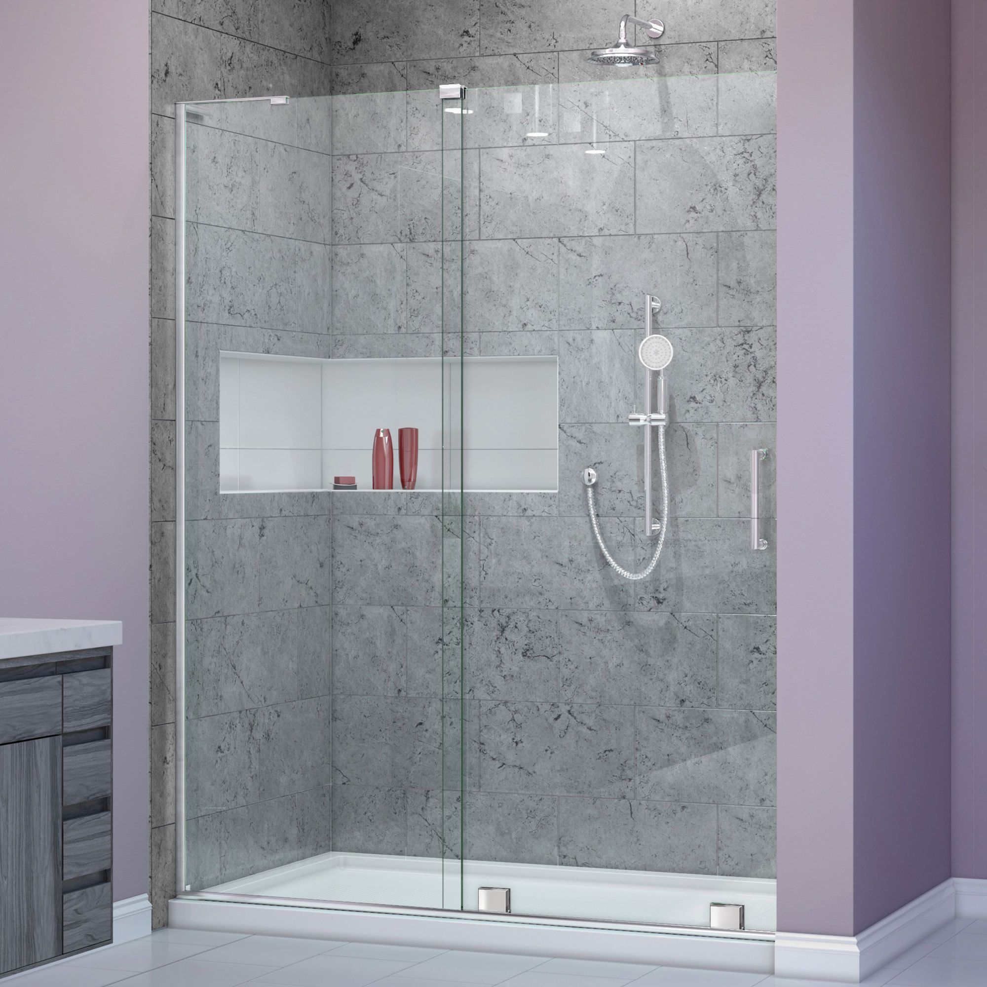 Dreamline Mirage X 44 48 In W X 72 In H Sliding Shower Door Brushed Nickel Right Wall Bracket Clear Products Shower Doors Frameless Sliding Shower Doors Frameless Shower Doors