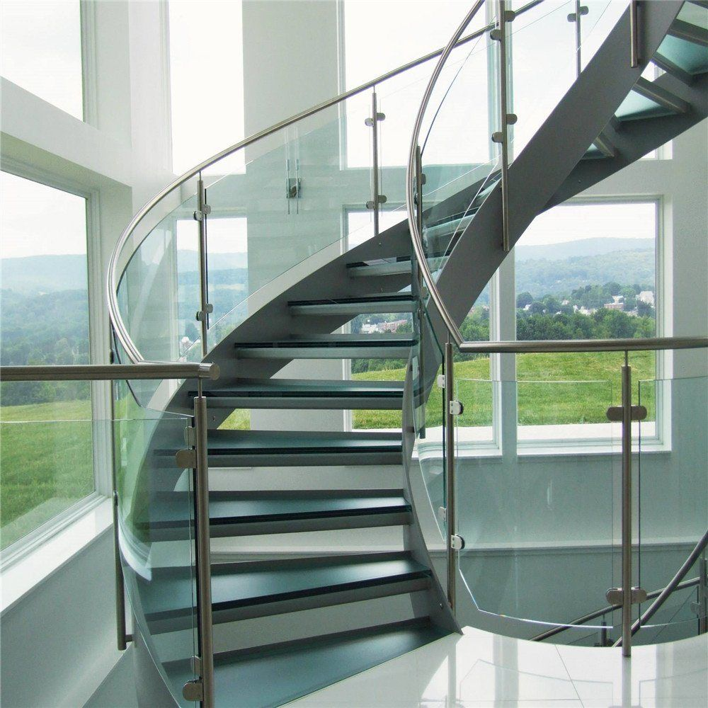 Hot Item Best Price Curved Glass Staircases With Bent Glass | Glass Banisters For Stairs Price | Floating Stairs | Oak Staircase | Oak Handrail | Wood | Curved Glass