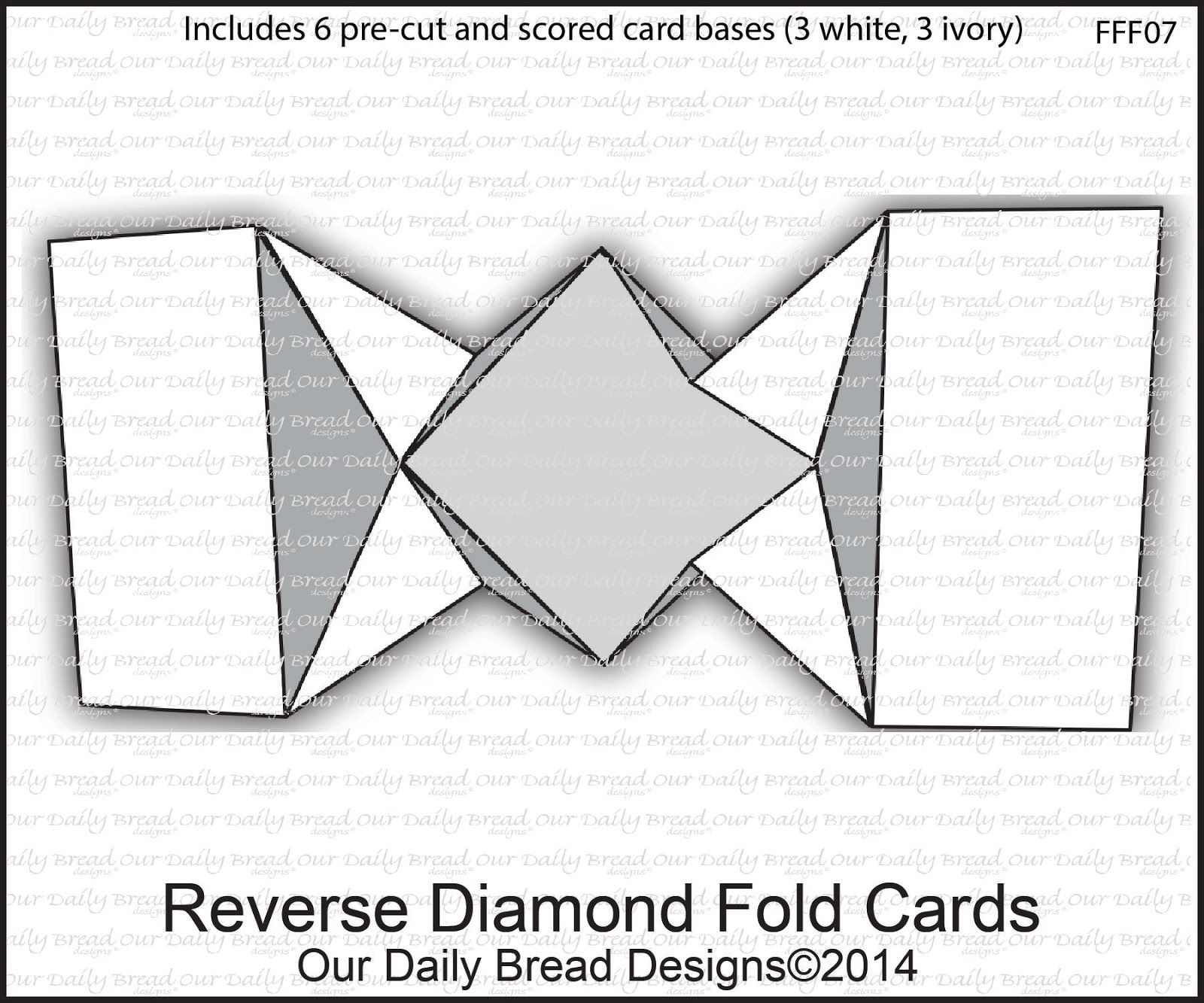 Our Daily Bread Designs Reverse Diamond Fold Cards - Includes 6 pre-cut and scored card bases (3 White, 3 Ivory)