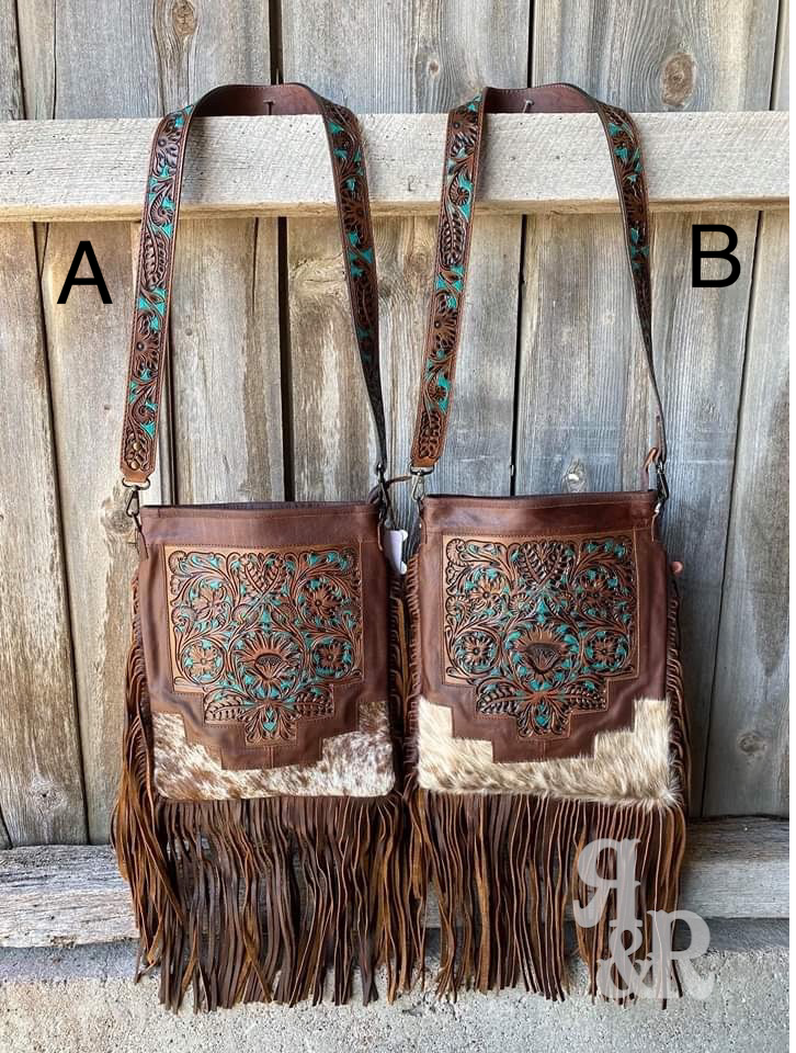 Cowhide with Hand Tooled painted leather Clutch Crossbody